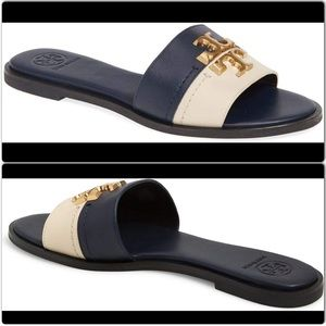 Tory Burch Everly Slide Flat Shoes Logo S 8.5 New